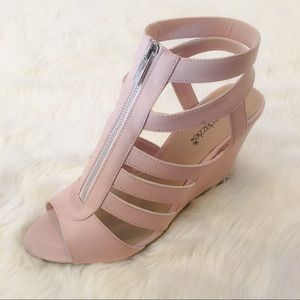 Shoedazzle Ingred Pink Stappy Sandal Wedges